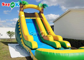 Backyard Double Lane PVC Jungle Inflatable Stair Water Slide With Pool